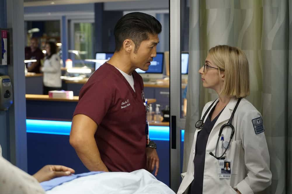"CHICAGO MED -- ""Be My Better Half"" Episode 401 -- Pictured: (l-r) Brian Tee as Ethan Choi, Molly Bernard as Elsa Currie -- (Photo by: Elizabeth Sisson/NBC)"