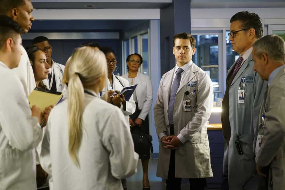 "CHICAGO MED -- ""Be My Better Half"" Episode 401 -- Pictured: (l-r) S. Epatha Merkerson as Sharon Goodwin, Nate Santana as Jimmy Lanik, Oliver Platt as Dr. Daniel Charles, Eddie Jemison as Dr. Stanley Stohl -- (Photo by: Elizabeth Sisson/NBC)"