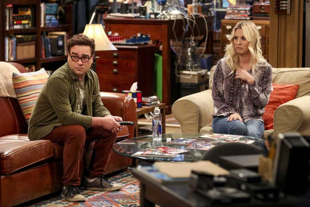 """The Conjugal Configuration"" - Pictured: Leonard Hofstadter (Johnny Galecki) and Penny (Kaley Cuoco). Sheldon and Amy's honeymoon runs aground in New York, while Penny and Leonard discover they are uncomfortably similar to Amy's parents, Mr. and Mrs. Fowler (Teller and Kathy Bates). Also, Koothrappali insults physicist Neil deGrasse Tyson and starts a Twitter war, on the 12th season premiere of THE BIG BANG THEORY, on a special night, Monday, Sept. 24 (8:00-8:30 PM, ET/PT) on the CBS Television Network. Photo: Michael Yarish/Warner Bros. Entertainment Inc. © 2018 WBEI. All rights reserved."