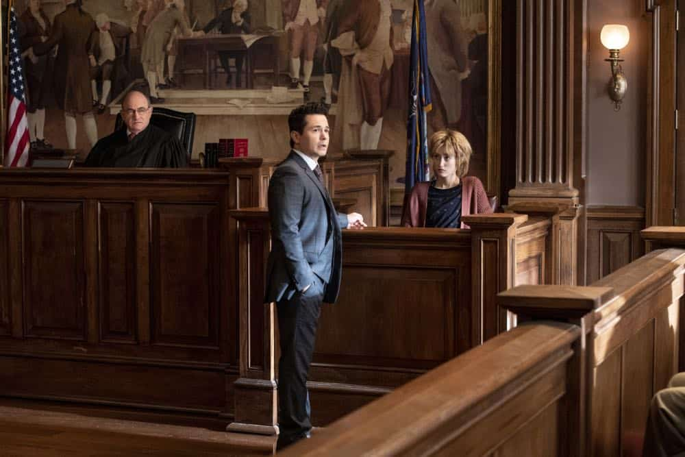 """Jury Duty""--Bull finds himself on the opposite side of voire dire when he must serve jury duty while simultaneously mounting a defense for a woman on trial for killing her daughter's murderer, on BULL, Monday, Oct. 1 (10:00-11:00 PM, ET/PT) on the CBS Television Network.   Pictured L-R: Todd Susman as Judge Mathias Cleary, Freddy Rodriguez as Benny Col--n, and Gus Birney as Penny Spiro Photo: David Giesbrecht/CBS ©2018 CBS Broadcasting, Inc. All Rights Reserved"
