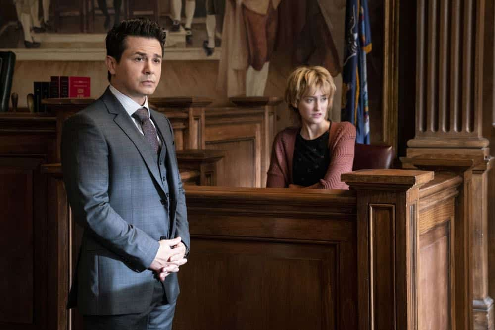 """Jury Duty""--Bull finds himself on the opposite side of voire dire when he must serve jury duty while simultaneously mounting a defense for a woman on trial for killing her daughter's murderer, on BULL, Monday, Oct. 1 (10:00-11:00 PM, ET/PT) on the CBS Television Network.   Pictured L-R: Freddy Rodriguez as Benny Col--n and Photo: David Giesbrecht/CBS ©2018 CBS Broadcasting, Inc. All Rights Reserved"