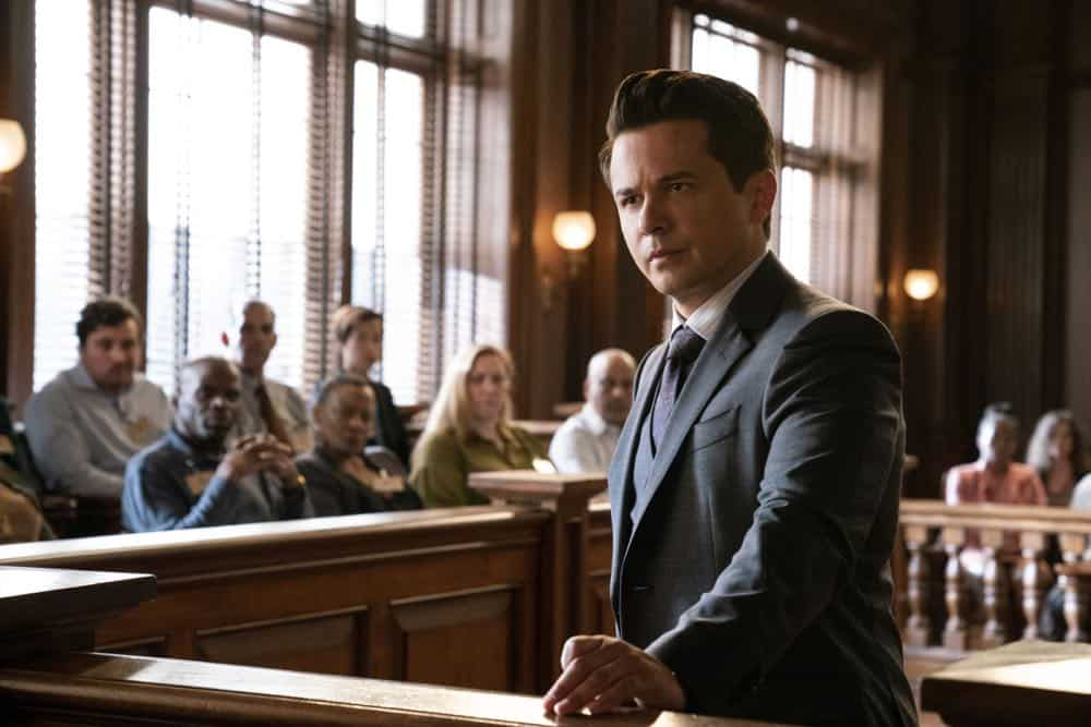 """Jury Duty""--Bull finds himself on the opposite side of voire dire when he must serve jury duty while simultaneously mounting a defense for a woman on trial for killing her daughter's murderer, on BULL, Monday, Oct. 1 (10:00-11:00 PM, ET/PT) on the CBS Television Network.  Pictured: Freddy Rodriguez as Benny Col--n Photo: David Giesbrecht/CBS ©2018 CBS Broadcasting, Inc. All Rights Reserved"