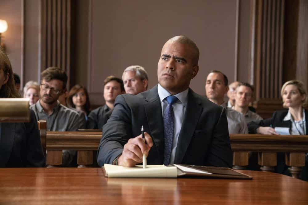 """Jury Duty""--Bull finds himself on the opposite side of voire dire when he must serve jury duty while simultaneously mounting a defense for a woman on trial for killing her daughter's murderer, on BULL, Monday, Oct. 1 (10:00-11:00 PM, ET/PT) on the CBS Television Network. Pictured: Chris Jackson as Chunk Palmer Photo: David Giesbrecht/CBS ©2018 CBS Broadcasting, Inc. All Rights Reserved"