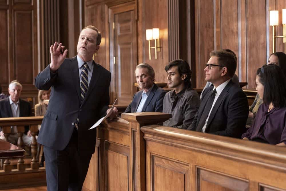 """Jury Duty""--Bull finds himself on the opposite side of voire dire when he must serve jury duty while simultaneously mounting a defense for a woman on trial for killing her daughter's murderer, on BULL, Monday, Oct. 1 (10:00-11:00 PM, ET/PT) on the CBS Television Network.   Pictured L-R: Andrew Sensesnig as AAG Jeffrey Lang and Michael Weatherly as Dr. Jason Bull Photo: David Giesbrecht/CBS ©2018 CBS Broadcasting, Inc. All Rights Reserved"
