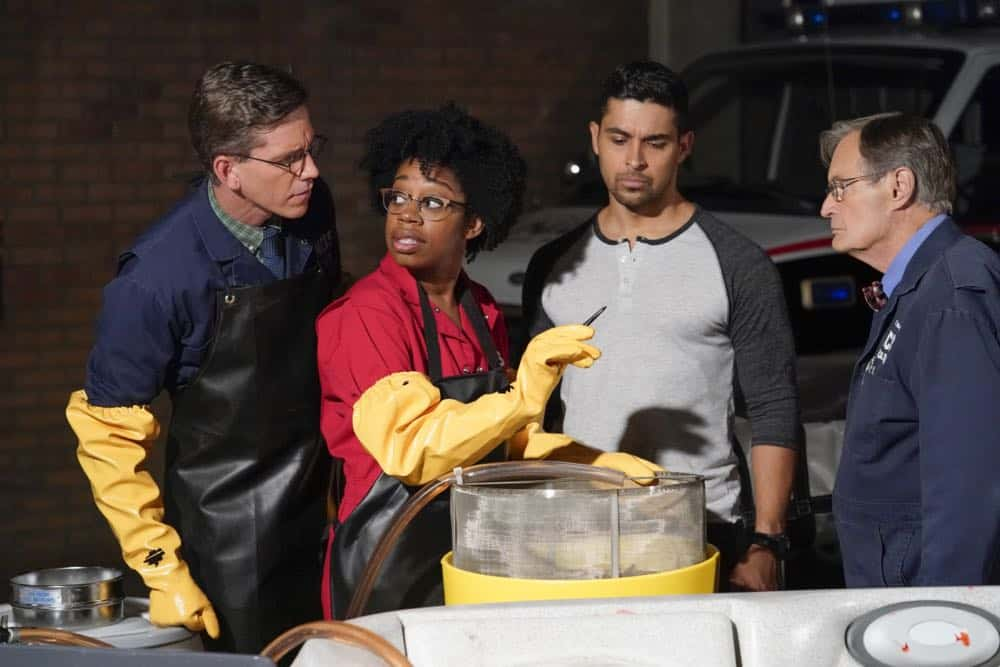 ÒLove Thy NeighborÓ Ð After a Navy lieutenant is found murdered in his hot tub, the team interviews several families in the victimÕs peculiar neighborhood. Also, Torres must face the consequences after a volatile night out with Palmer, on NCIS, Tuesday, Oct. 2 (8:00-9:00 PM, ET/PT) on the CBS Television Network.  Pictured: Brian Dietzen, Diona Reasonover, Wilmer Valderrama, David McCallum.   Photo: Robert Voets/CBS ©2018 CBS Broadcasting, Inc. All Rights Reserved