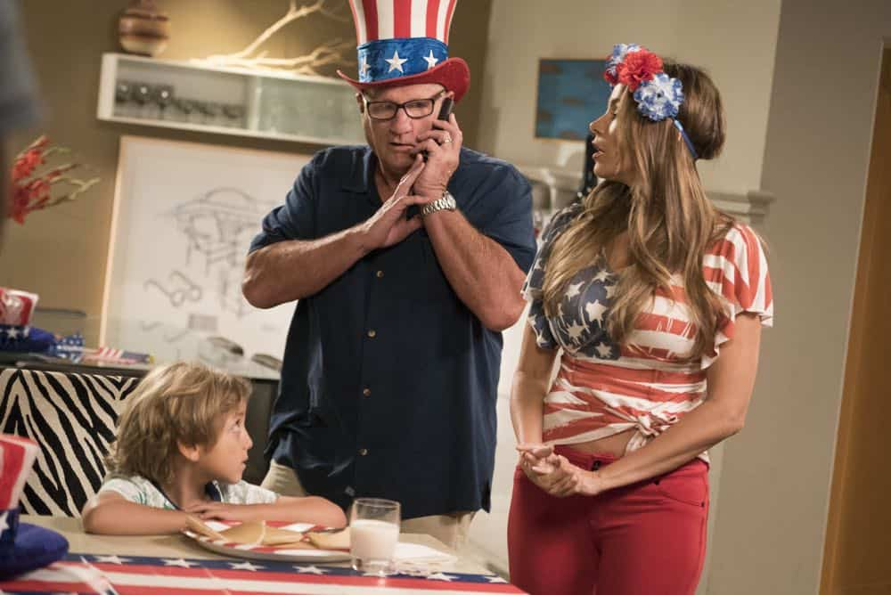 """MODERN FAMILY - """"I Love a Parade"""" - The Pritchett-Dunphy-Tucker clan are going to be setting off more than a few fireworks when they get together at the annual Fourth of July parade where Jay will be acting as the grand marshal. Meanwhile, Haley's goodbye with Arvin before his trip to Switzerland doesn't go as well as she pictured it and is distracted by the return of an old flame during the 10th season premiere, on """"Modern Family,"""" WEDNESDAY, SEPT. 26 (9:00-9:31 p.m. EDT), on The ABC Television Network. (ABC/Kelsey McNeal) JEREMY MAGUIRE, ED O'NEILL, SOFIA VERGARA"""
