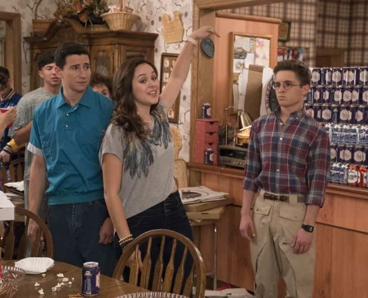 """THE GOLDBERGS - """"Sixteen Candles"""" - It's Adam's 16th birthday, but his parents are too distracted by Barry and Lainey's engagement and Erica's band ambitions to remember their youngest son's big day. But the situation presents an opportunity for Adam to ask Erica to put him on the high school social map. Meanwhile, Beverly thinks she can scare Barry and Lainey straight with the reality of being adults, on the season premiere of """"The Goldbergs,"""" WEDNESDAY, SEPT. 26 (8:00–8:30 p.m. EDT), on The ABC Television Network. (ABC/Mitch Haaseth) SAM LERNER, HAYLEY ORRANTIA, SEAN GIAMBRONE"""