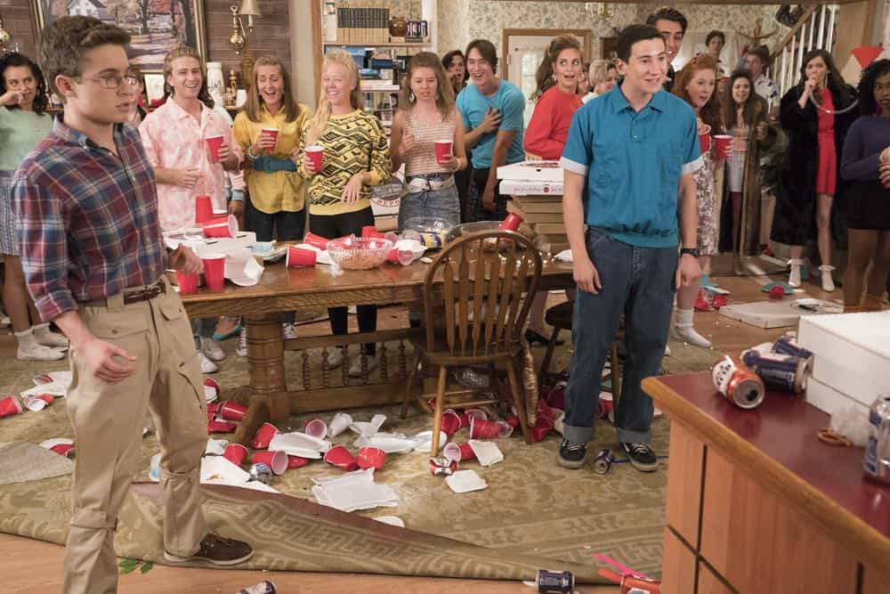 "THE GOLDBERGS - ""Sixteen Candles"" - It's Adam's 16th birthday, but his parents are too distracted by Barry and Lainey's engagement and Erica's band ambitions to remember their youngest son's big day. But the situation presents an opportunity for Adam to ask Erica to put him on the high school social map.  Meanwhile, Beverly thinks she can scare Barry and Lainey straight with the reality of being adults, on the season premiere of ""The Goldbergs,"" WEDNESDAY, SEPT. 26 (8:00–8:30 p.m. EDT), on The ABC Television Network. (ABC/Mitch Haaseth) SEAN GIAMBRONE, SAM LERNER"