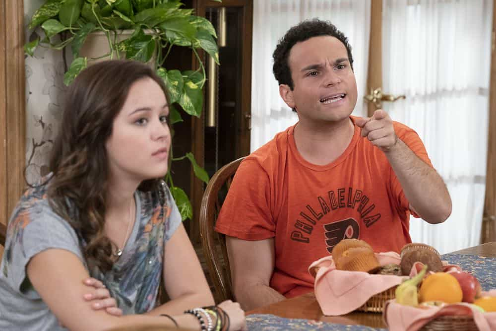 "THE GOLDBERGS - ""Sixteen Candles"" - It's Adam's 16th birthday, but his parents are too distracted by Barry and Lainey's engagement and Erica's band ambitions to remember their youngest son's big day. But the situation presents an opportunity for Adam to ask Erica to put him on the high school social map.  Meanwhile, Beverly thinks she can scare Barry and Lainey straight with the reality of being adults, on the season premiere of ""The Goldbergs,"" WEDNESDAY, SEPT. 26 (8:00–8:30 p.m. EDT), on The ABC Television Network. (ABC/Ron Tom) HAYLEY ORRANTIA, TROY GENTILE"