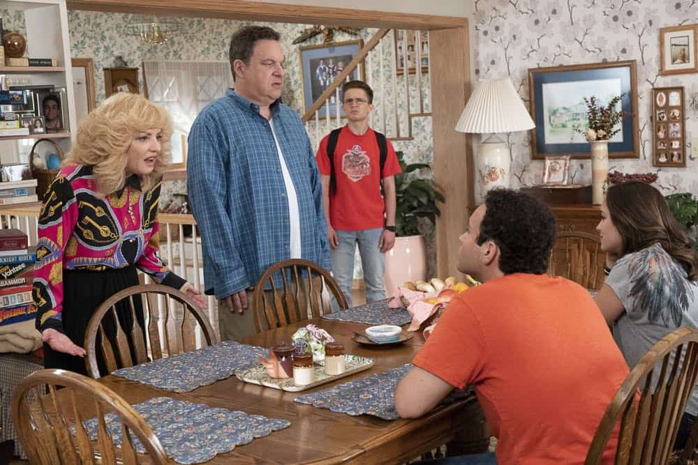 "THE GOLDBERGS - ""Sixteen Candles"" - It's Adam's 16th birthday, but his parents are too distracted by Barry and Lainey's engagement and Erica's band ambitions to remember their youngest son's big day. But the situation presents an opportunity for Adam to ask Erica to put him on the high school social map.  Meanwhile, Beverly thinks she can scare Barry and Lainey straight with the reality of being adults, on the season premiere of ""The Goldbergs,"" WEDNESDAY, SEPT. 26 (8:00–8:30 p.m. EDT), on The ABC Television Network. (ABC/Ron Tom) WENDI MCLENDON-COVEY, JEFF GARLIN, SEAN GIAMBRONE, TROY GENTILE, HAYLEY ORRANTIA"