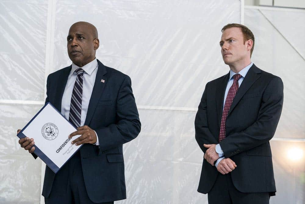 "MANIFEST -- ""Reentry"" Episode 102 -- Pictured: (left) Daryl Edwards as NSA Director Vance  -- (Photo by: Peter Kramer/NBC)"