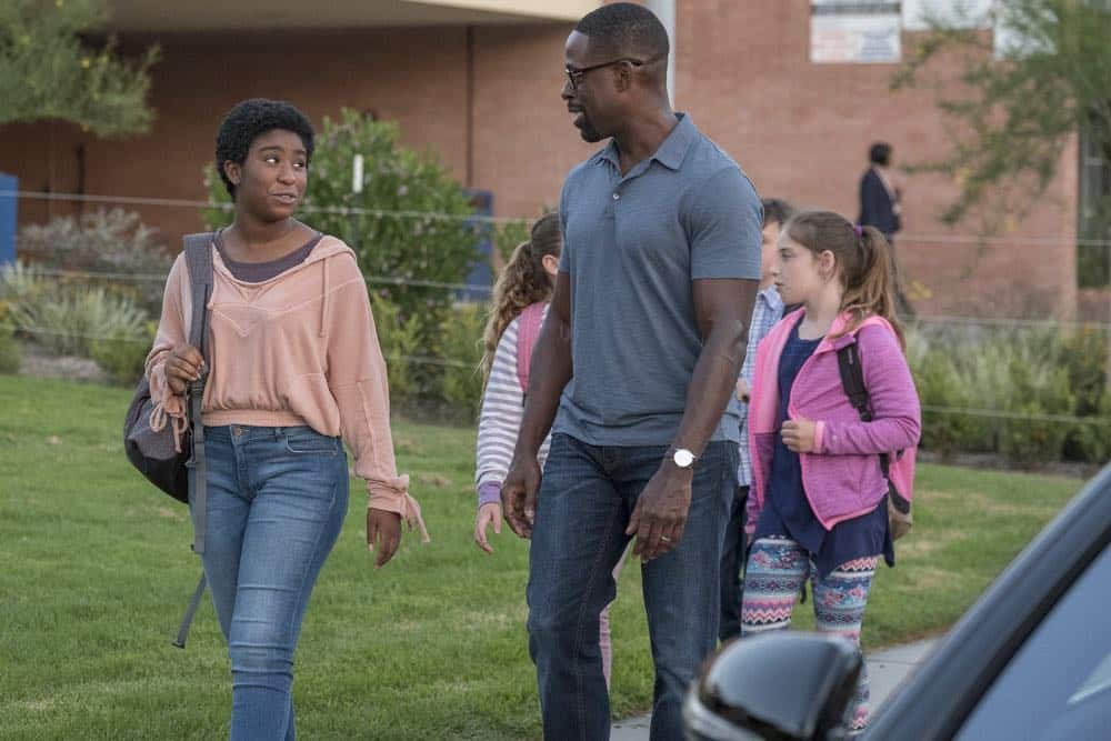 "THIS IS US -- ""A Philadelphia Story"" Episode 302 -- Pictured: (l-r) Lyric Ross as Déjà, Sterling K. Brown as Randall Pearson -- (Photo by: Ron Batzdorff/NBC)"