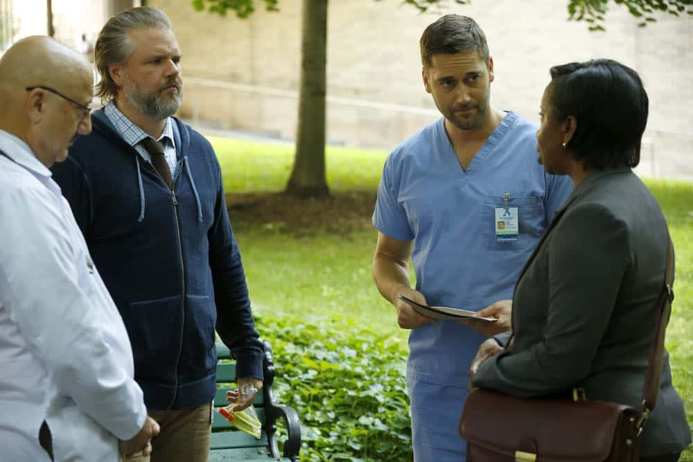 "NEW AMSTERDAM -- ""Rituals"" Episode 102 -- Pictured: (l-r) Anupam Kher as Dr. Vijay Kapoor, Tyler Labine as Dr. Iggy Frome, Ryan Eggold as Dr. Max Goodwin -- (Photo by: Will Hart/NBC)"
