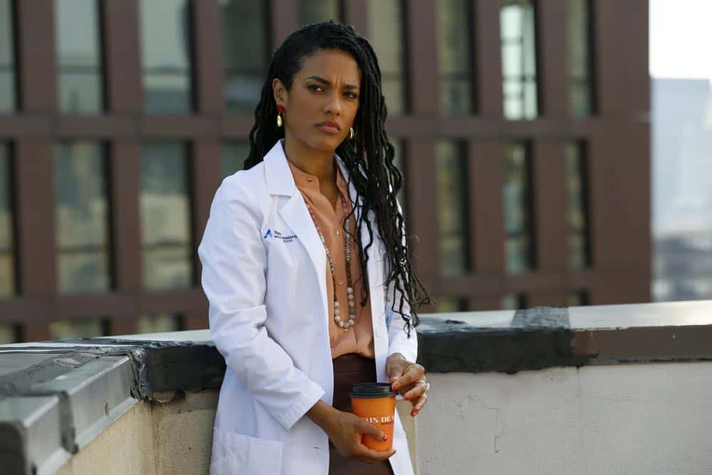"NEW AMSTERDAM -- ""Rituals"" Episode 102 -- Pictured: Freema Agyeman as Dr. Helen Sharpe --  (Photo by: Will Hart/NBC)"