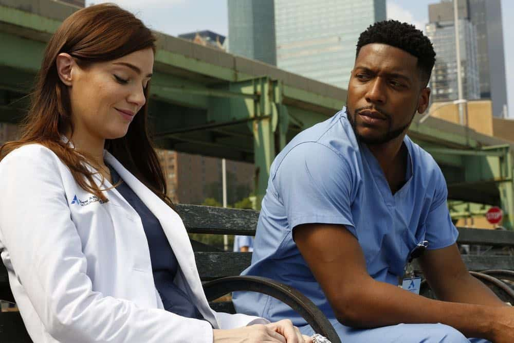 "NEW AMSTERDAM -- ""Rituals"" Episode 102 -- Pictured: (l-r) Janet Montgomery as Dr. Lauren Bloom, Jocko Sims as Dr. Floyd Reynolds -- (Photo by: Will Hart/NBC)"