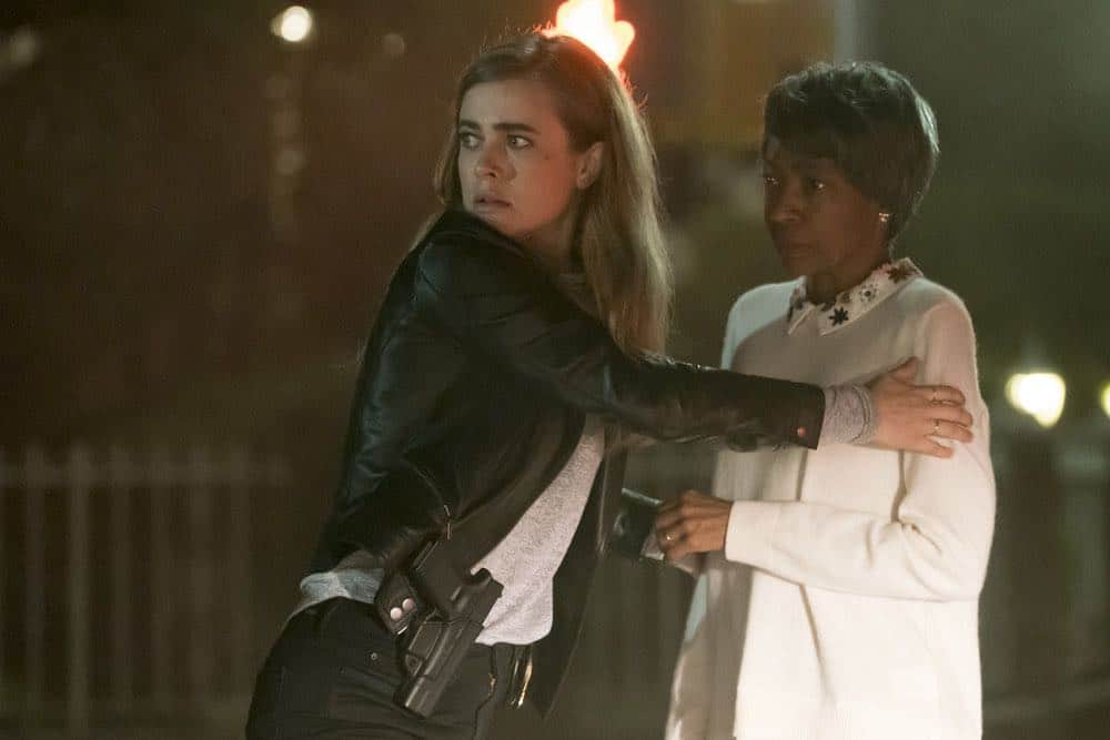 "MANIFEST -- ""Turbulence"" Episode 103 -- Pictured: (l-r) Melissa Roxburgh as Michaela Stone, Adriane Lenox as Beverly -- (Photo by: Barbara Nitke/NBC/Warner Brothers)"