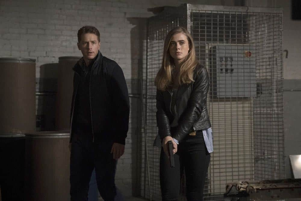 "MANIFEST -- ""Turbulence"" Episode 103 -- Pictured: (l-r) Josh Dallas as Ben Stone, Melissa Roxburgh as Michaela Stone -- (Photo by: Peter Kramer/NBC/Warner Brothers)"