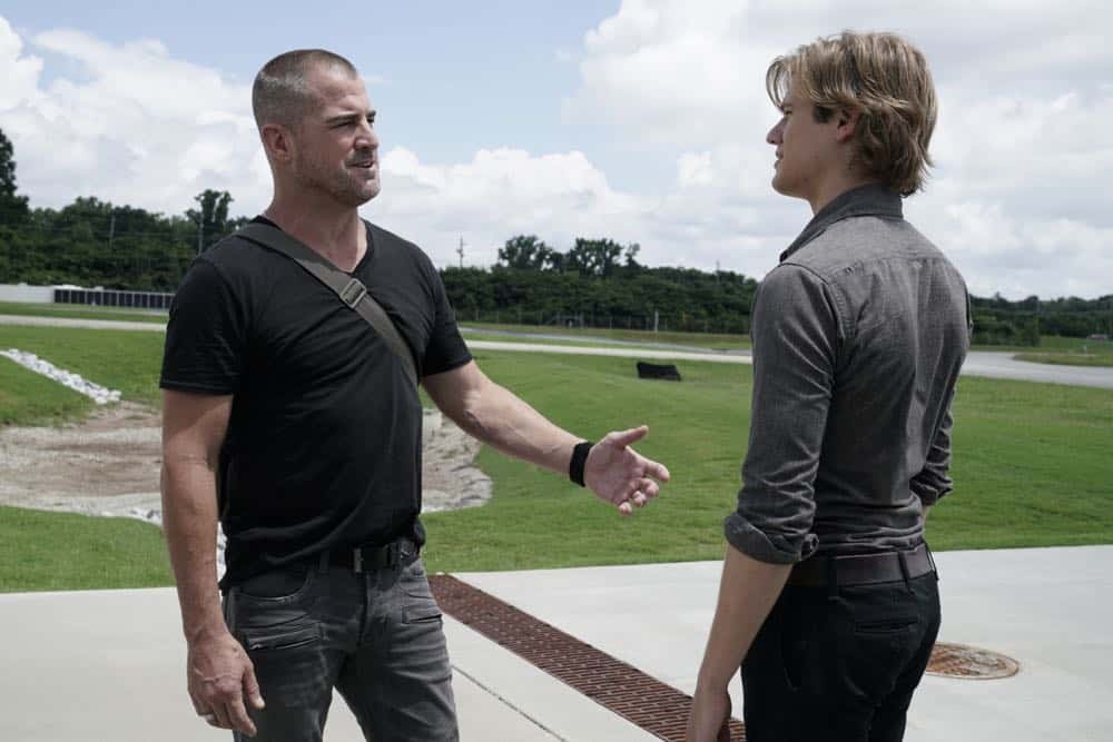 """""""Bravo Lead + Loyalty + Friendship"""" -- When Jack receives an emergency distress signal from one of his old Delta buddies who is falsely accused of terrorism in a foreign country, MacGyver and Jack quickly recruit the rest of Jack's old Delta team and stage an unsanctioned rescue op, on MACGYVER, Friday, Oct. 5 (8:00-9:00 PM, ET/PT) on the CBS Television Network.  Pictured: George Eads, Lucas Till.  Photo: Jace Downs/CBS ©2018 CBS Broadcasting, Inc. All Rights Reserved"""