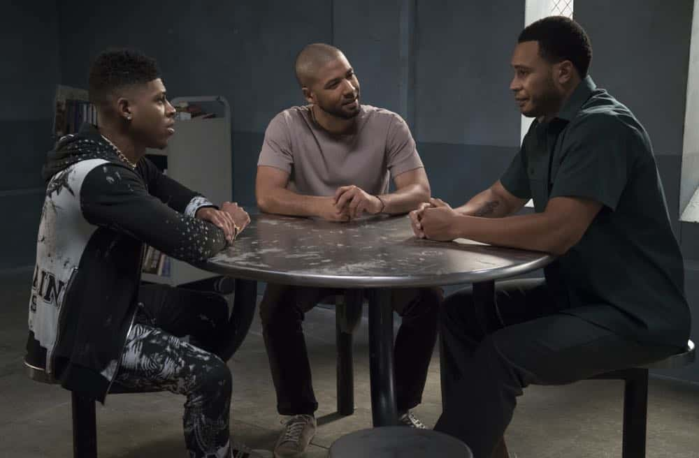 "EMPIRE: L-R: Bryshere Y. Gray, Jussie Smollett and Trai Byers in the ""Pay For Their Presumptions"" Season Five episode of EMPIRE airing Wednesday, Oct. 3 (8:00-9:00 PM ET/PT) on FOX. @2018 Fox Broadcasting Co. CR: Chuck Hodes/FOX."