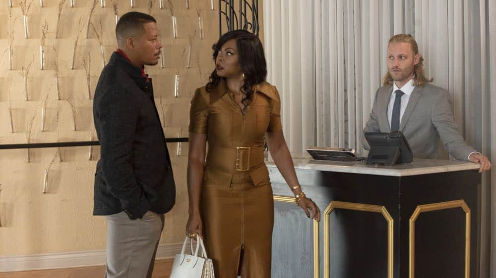 "EMPIRE: L-R: Terrence Howard and Taraji P. Henson in the ""Pay For Their Presumptions"" Season Five episode of EMPIRE airing Wednesday, Oct. 3 (8:00-9:00 PM ET/PT) on FOX. @2018 Fox Broadcasting Co. CR: Jean Whiteside/FOX."
