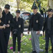 """Boom"" -- One of the NCIS agents is starstruck after the team investigates an explosion outside the home of Navy Petty Officer First Class Todd Nicholas (Cameron Radice) and his wife, popular reality TV star Sheba Nicholas (Tara Holt). Also, Vance continues physical therapy for the injuries sustained when he was held hostage, on NCIS, Tuesday, Oct. 9 (8:00-9:00 PM, ET/PT) on the CBS Television Network. Pictured: Tara Holt, Sean Murray, Emily Wickersham, Mark Harmon, Wilmer Valderrama. Photo: Sonja Flemming/CBS ©2018 CBS Broadcasting, Inc. All Rights Reserved"