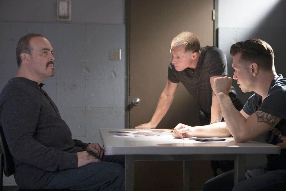 "CHICAGO P.D. -- ""Endings"" Episode 603 -- Pictured: (l-r) David Zayas as Carlos, Jason Beghe as Hank Voight, Jon Seda as Antonio Dawson -- (Photo by: Adrian Burrows/NBC)"