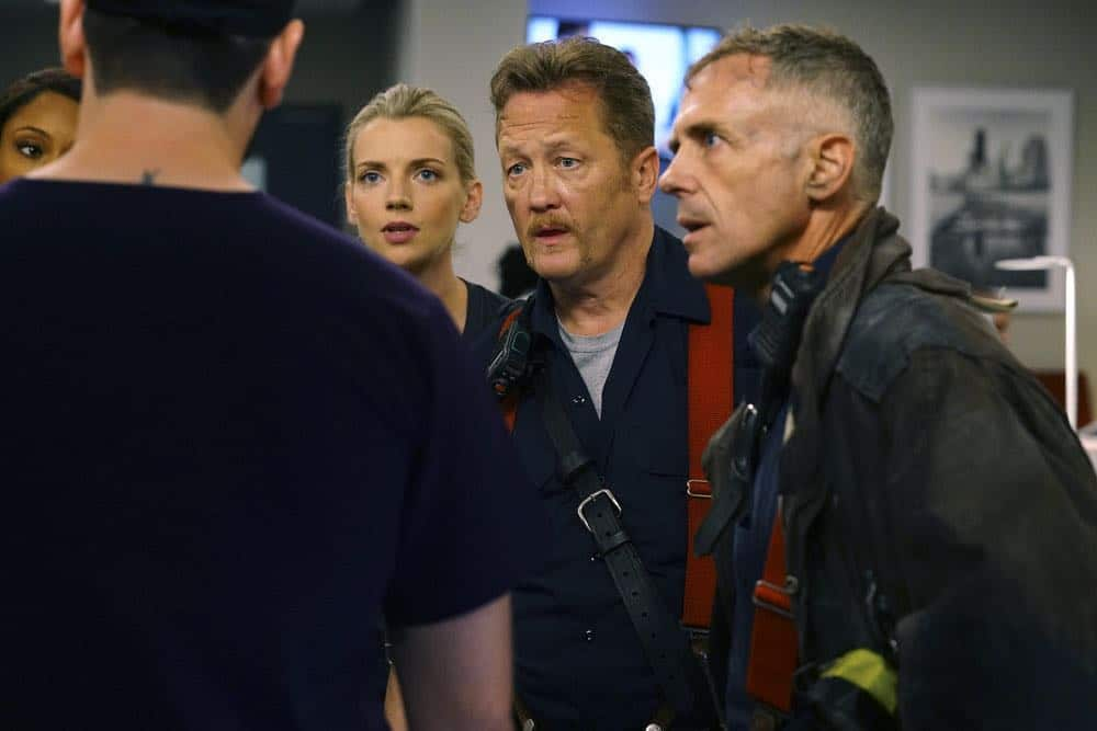 "CHICAGO MED -- ""When To Let Go"" Episode 402 -- Pictured: (l-r) Yaya DaCosta as April Sexton, Kara Killmer as Sylvie Brett, Christian Stolte as Randy ""Mouch"" McHolland, David Eigenberg as Christopher Herrmann -- (Photo by: Elizabeth Sisson/NBC)"