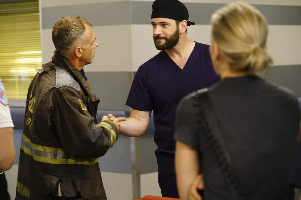 "CHICAGO MED -- ""When To Let Go"" Episode 402 -- Pictured: (l-r) David Eigenberg as Christopher Herrmann, Colin Donnell as Connor Rhodes -- (Photo by: Elizabeth Sisson/NBC)"