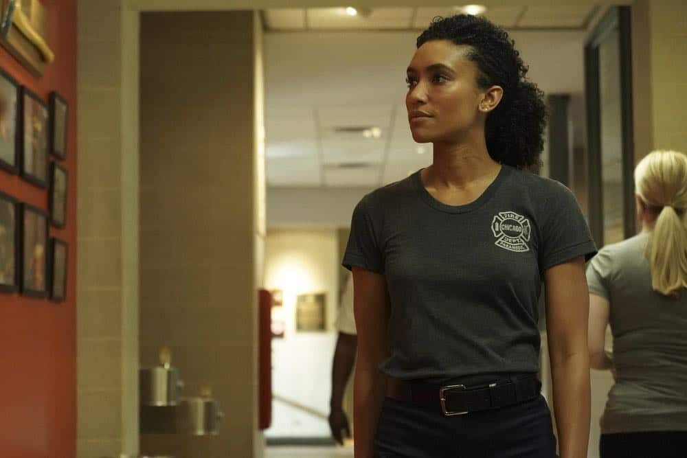 "CHICAGO FIRE -- ""Going to War"" Episode 702 -- Pictured: Annie Ilonzeh as Emily Foster -- (Photo by: Elizabeth Morris/NBC)"