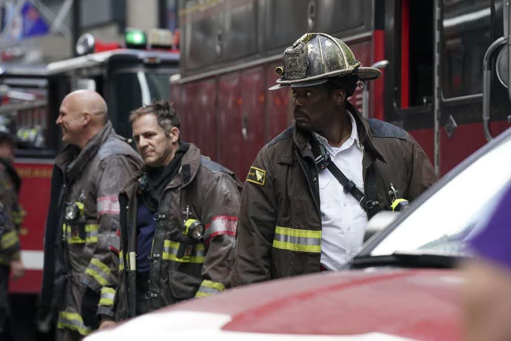 "CHICAGO FIRE -- ""Going to War"" Episode 702 -- Pictured: (l-r) Tony Ferraris as Tony, Eamonn Walker as Chief Boden -- (Photo by: Elizabeth Morris/NBC)"