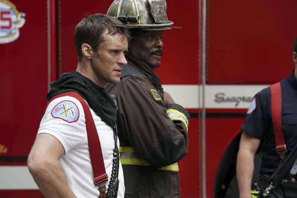 """CHICAGO FIRE -- """"Going to War"""" Episode 702 -- Pictured: (l-r) Jesse Spencer as Matthew Casey, Eamonn Walker as Chief Boden -- (Photo by: Elizabeth Morris/NBC)"""