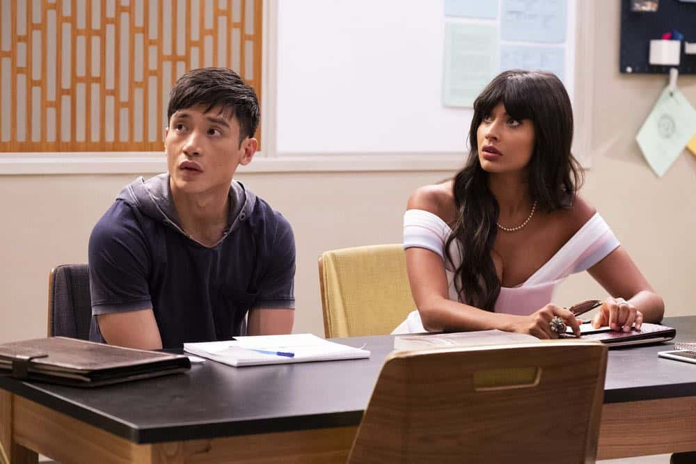 "THE GOOD PLACE -- ""The Brainy Bunch"" Episode 303 -- Pictured: (l-r) Manny Jacinto as Jason Mendoza, Jameela Jamil as Tahani -- (Photo by: Justin Lubin/NBC)"