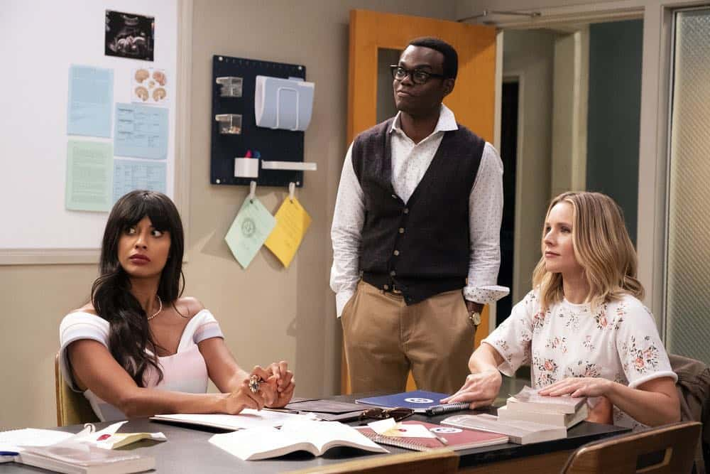 "THE GOOD PLACE -- ""The Brainy Bunch"" Episode 303 -- Pictured: (l-r) Jameela Jamil as Tahani, William Harper Jackson as Chidi, Kristen Bell as Eleanor -- (Photo by: Justin Lubin/NBC)"