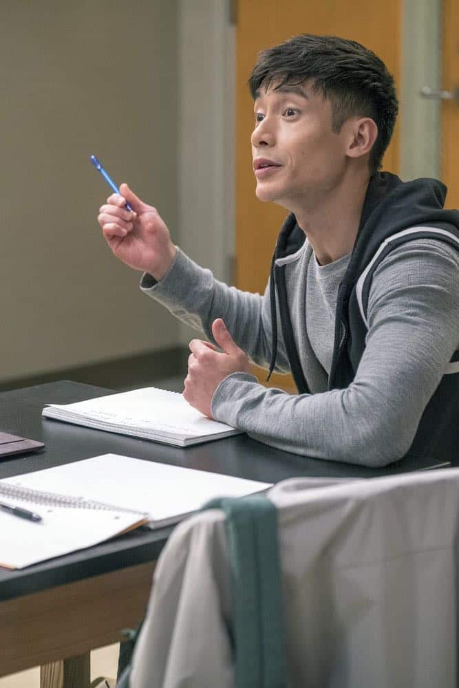 "THE GOOD PLACE -- ""The Brainy Bunch"" Episode 303 -- Pictured: Manny Jacinto as Jason Mendoza -- (Photo by: Ron Batzdorff/NBC)"