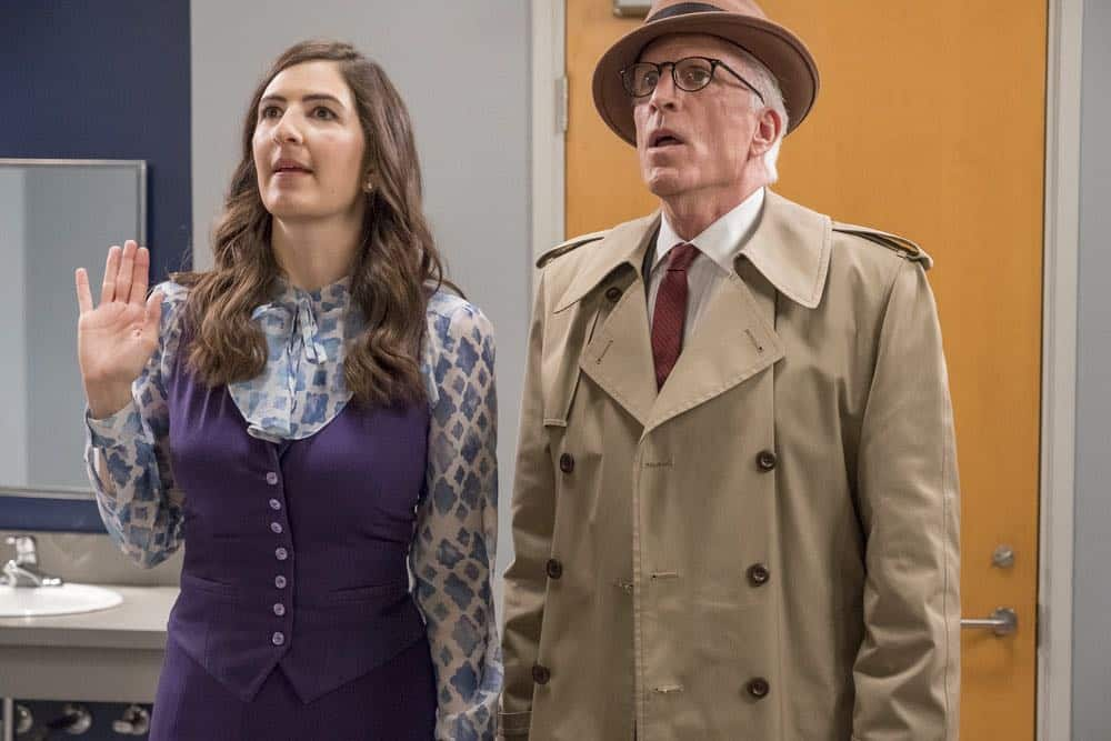 "THE GOOD PLACE -- ""The Brainy Bunch"" Episode 303 -- Pictured: (l-r) D'Arcy Carden as Janet, Ted Danson as Michael -- (Photo by: Ron Batzdorff/NBC)"