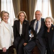 """E Pluribus Unum""-- Former Secretaries of State Hillary Clinton, General Colin Powell and Madeleine Albright joined Téa Leoni on set at Madam Secretary. In this upcoming episode, Secretary of State Elizabeth McCord turns to the former Secretaries of State to ask their advice on how to respond to a delicate situation, in the fifth season premiere of MADAM SECRETARY, Sunday, October 7 (10:00-11:00 PM ET/PT) on the CBS Television Network. Photo: David M. Russell/CBS©2018 CBS Broadcasting, Inc. All Rights Reserved"