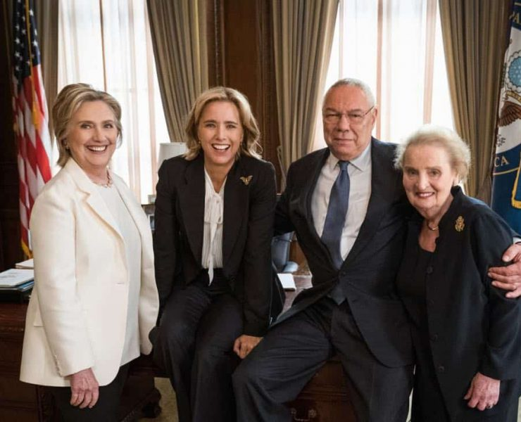 """""""E Pluribus Unum""""-- Former Secretaries of State Hillary Clinton, General Colin Powell and Madeleine Albright joined Téa Leoni on set at Madam Secretary. In this upcoming episode, Secretary of State Elizabeth McCord turns to the former Secretaries of State to ask their advice on how to respond to a delicate situation, in the fifth season premiere of MADAM SECRETARY, Sunday, October 7 (10:00-11:00 PM ET/PT) on the CBS Television Network. Photo: David M. Russell/CBS©2018 CBS Broadcasting, Inc. All Rights Reserved"""