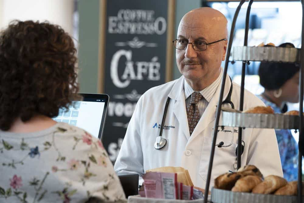"NEW AMSTERDAM -- ""Every Last Minute"" Episode 103 -- Pictured: Anupam Kher as Dr. Vijay Kapoor -- (Photo by: Virginia Sherwood/NBC)"