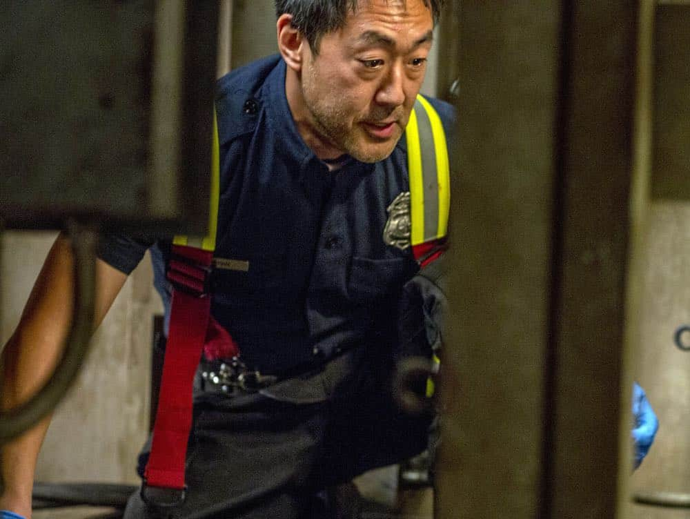 "9-1-1: Kenneth Choi in the ""Stuck"" episode of 9-1-1 airing Monday, Oct. 8 (9:00-10:00 PM ET/PT) on FOX. © 2018 FOX Broadcasting. CR: Jack Zeman / FOX."
