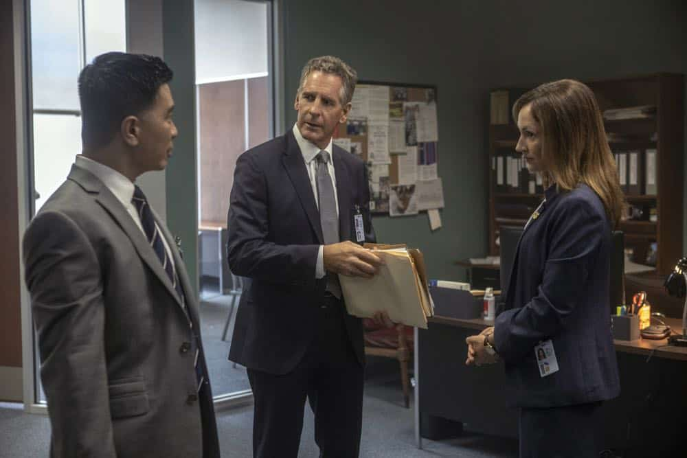 """Diplomatic Immunity"" -- While NCIS investigates the murder of a Navy intelligence officer killed during a conference for foreign diplomats, the key witness cozies up to Sebastian. Also, Pride has some trouble adjusting to his new position at the agency, on NCIS: NEW ORLEANS, Tuesday, Oct. 9 (10:00-11:00 PM, ET/PT) on the CBS Television Network. Pictured L-R: Reggie Lee as ASAC Steven Thompson and Scott Bakula as Special Agent Dwayne Pride Photo: Skip Bolen/CBS ©2018 CBS Broadcasting, Inc. All Rights Reserved"