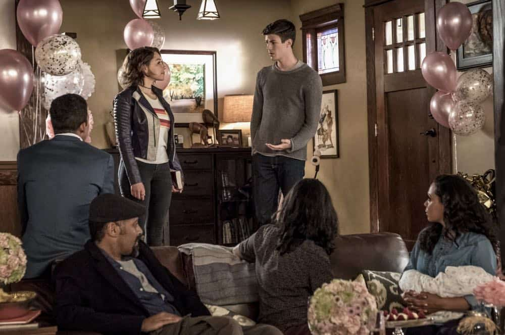 "The Flash -- ""Nora"" -- Image Number: FLA501a_0133b.jpg -- Pictured (L-R): Keiynan Lonsdale as Wally West, Jesse L. Martin as Detective Joe West, Jessica Parker Kennedy as Nora West - Allen, Grant Gustin as Barry Allen, Carlos Valdes as Cisco Ramon and Danielle Nicolet as Cecile Horton -- Photo: Katie Yu/The CW -- © 2018 The CW Network, LLC. All rights reserved"