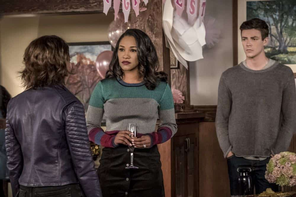 "The Flash -- ""Nora"" -- Image Number: FLA501a_0269b2.jpg -- Pictured (L-R): Jessica Parker Kennedy as Nora West - Allen, Candice Patton as Iris West - Allen and Grant Gustin as Barry Allen -- Photo: Katie Yu/The CW -- © 2018 The CW Network, LLC. All rights reserved"