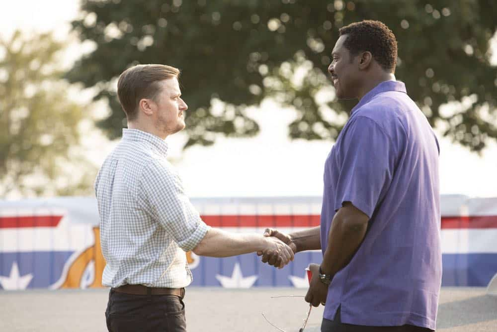 "CHICAGO FIRE -- ""Thirty Percent Sleight of Hand"" Episode 703 -- Pictured: (l-r) Steven Boyer as Jerry Gorsch, Eamonn Walker as Wallace Boden -- (Photo by: Adrian Burrows/NBC)"