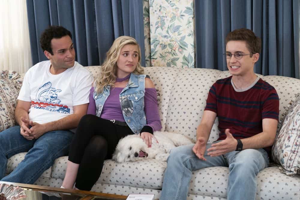 """THE GOLDBERGS - """"RAD!"""" - Erica thinks all of her singing dreams are going to come true when she lands a job at the new karaoke bar in town. But when she's tasked with bringing in more customers, will Erica regret turning to Beverly for help? Meanwhile, Murray tries to teach Barry and Lainey how to be financially responsible adults, on """"The Goldbergs,"""" WEDNESDAY, OCT. 10 (8:00-8:30 p.m. EDT), on The ABC Television Network. (ABC/Ron Tom) TROY GENTILE, AJ MICHALKA, SEAN GIAMBRONE"""