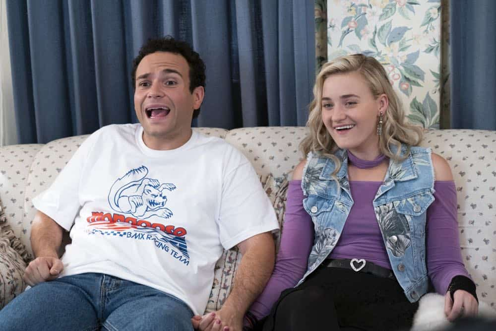 """THE GOLDBERGS - """"RAD!"""" - Erica thinks all of her singing dreams are going to come true when she lands a job at the new karaoke bar in town. But when she's tasked with bringing in more customers, will Erica regret turning to Beverly for help? Meanwhile, Murray tries to teach Barry and Lainey how to be financially responsible adults, on """"The Goldbergs,"""" WEDNESDAY, OCT. 10 (8:00-8:30 p.m. EDT), on The ABC Television Network. (ABC/Ron Tom) TROY GENTILE, AJ MICHALKA"""