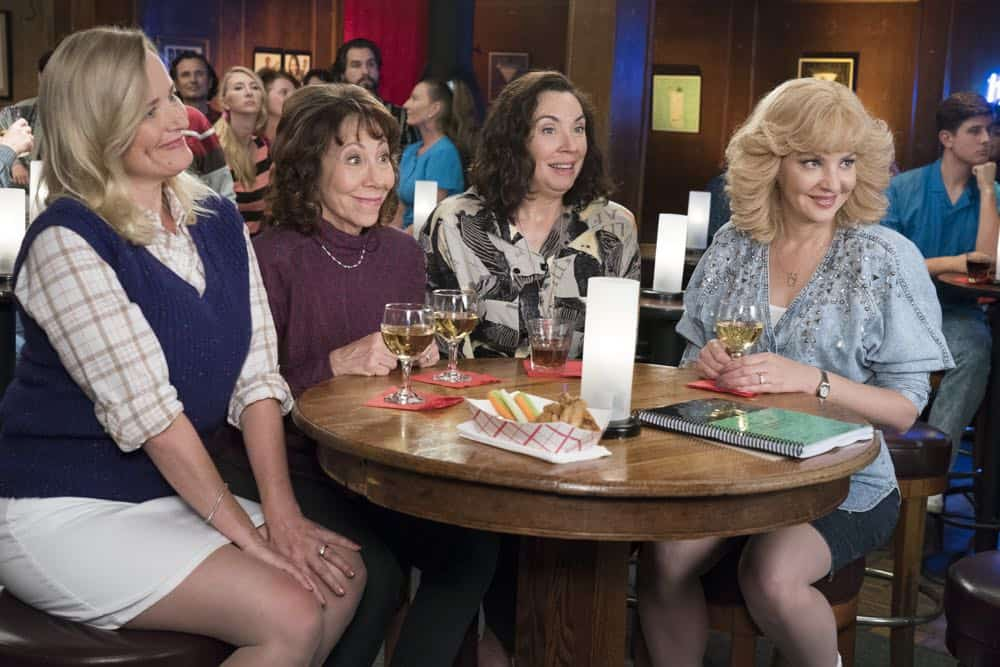 """THE GOLDBERGS - """"RAD!"""" - Erica thinks all of her singing dreams are going to come true when she lands a job at the new karaoke bar in town. But when she's tasked with bringing in more customers, will Erica regret turning to Beverly for help? Meanwhile, Murray tries to teach Barry and Lainey how to be financially responsible adults, on """"The Goldbergs,"""" WEDNESDAY, OCT. 10 (8:00-8:30 p.m. EDT), on The ABC Television Network. (ABC/Ron Tom) JENNIFER IRWIN, MINDY STERLING, STEPHANIE COURTNEY, WENDI MCLENDON-COVEY"""