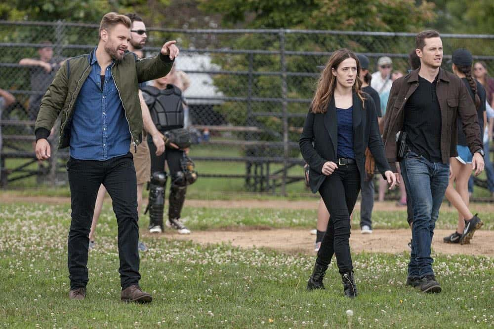 "CHICAGO P.D. -- ""Bad Boys"" Episode 603 -- Pictured: (l-r) Patrick John Flueger as Adam Ruzek, Marina Squerciati, Jesse Lee Soffer as Jay Halstead -- (Photo by: Matt Dinerstein/NBC)"
