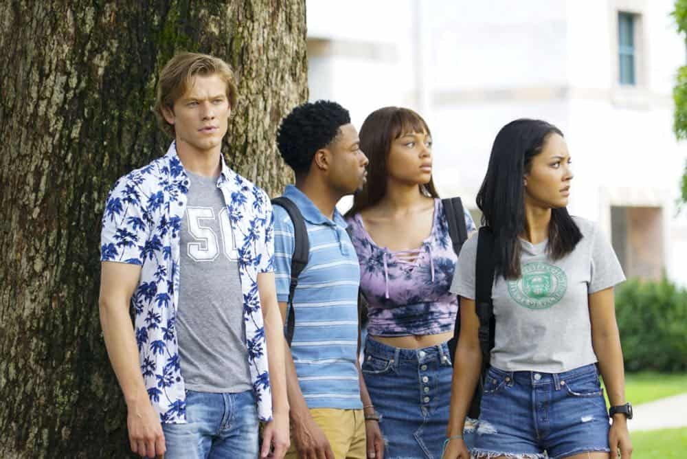 """Bozer + Booze + Back to School"" -- MacGyver, Riley, Bozer and Leanna go undercover on a college campus to smoke out a deep-cover operative who is recruiting students to carry out deadly attacks around the world. Also, Jack joins bounty hunter Billy Colton (Lance Gross) in the hunt for a bail jumper but is concerned when he finds out Billy offered Riley a job, on MACGYVER, Friday, Oct. 12 (8:00-9:00 PM, ET/PT) on the CBS Television Network. Pictured: Lucas Till, Justin Hires, Reign Edwards, Tristin Mays Photo: Annette Brown/CBS ©2018 CBS Broadcasting, Inc. All Rights Reserved"