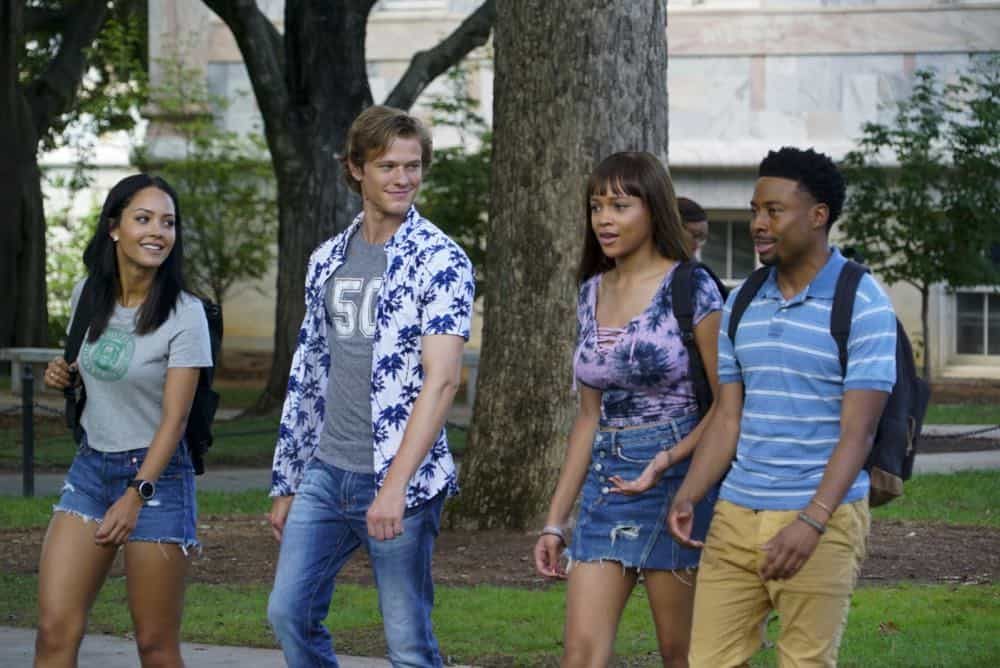"""Bozer + Booze + Back to School"" -- MacGyver, Riley, Bozer and Leanna go undercover on a college campus to smoke out a deep-cover operative who is recruiting students to carry out deadly attacks around the world. Also, Jack joins bounty hunter Billy Colton (Lance Gross) in the hunt for a bail jumper but is concerned when he finds out Billy offered Riley a job, on MACGYVER, Friday, Oct. 12 (8:00-9:00 PM, ET/PT) on the CBS Television Network. Pictured: Tristin Mays, Lucas Till, Reign Edwards, Justin Hires. Photo: Annette Brown/CBS ©2018 CBS Broadcasting, Inc. All Rights Reserved"