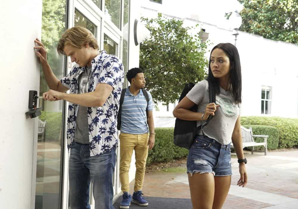 """Bozer + Booze + Back to School"" -- MacGyver, Riley, Bozer and Leanna go undercover on a college campus to smoke out a deep-cover operative who is recruiting students to carry out deadly attacks around the world. Also, Jack joins bounty hunter Billy Colton (Lance Gross) in the hunt for a bail jumper but is concerned when he finds out Billy offered Riley a job, on MACGYVER, Friday, Oct. 12 (8:00-9:00 PM, ET/PT) on the CBS Television Network. Pictured: Lucas Till, Justin Hires, Tristin Mays Photo: Annette Brown/CBS ©2018 CBS Broadcasting, Inc. All Rights Reserved"